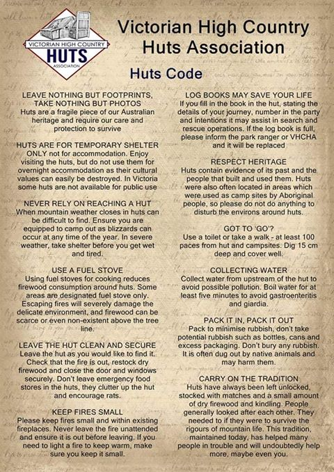 Four Wheel Drive Victoria - HUTS CODE OF CONDUCT